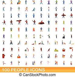 stijl, iconen, set, mensen, spotprent, honderd