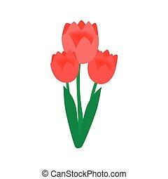 stijl, isometric, roze, tulpen, 3d, pictogram