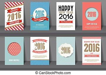 stijl, jaarwisseling, brochures, set, vrolijke , ouderwetse