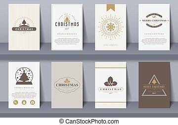 stijl, jaarwisseling, brochures, set, zalige kerst, vrolijke , ouderwetse