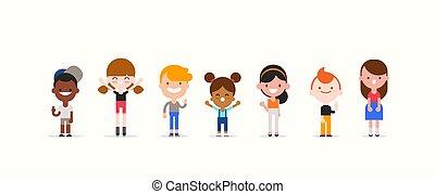 stijl, kinderen, illustration., karakter, plat, verscheidenheid, geitjes, isolated., spotprent, vector, het glimlachen, ontwerp