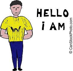 stijl, plaatsen, am., doodle, inscription., tekst, hallo, witte , kopie, man, tekening, spase.