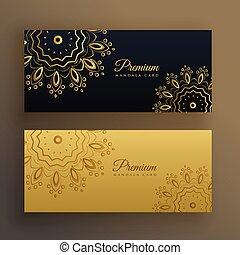 stijl, premie, goud, versiering, black , mandala, spandoek