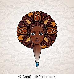stijl, vrouw, african., haar, verticaal, welig, vector.