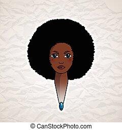 stijl, vrouw, paardenbloem, haar, african., verticaal