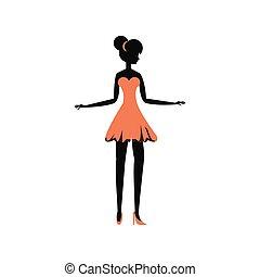 stijl, vrouw, silhouette, retro