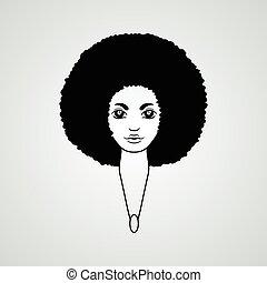 stijl, vrouw, vector., haar, african., verticaal, welig