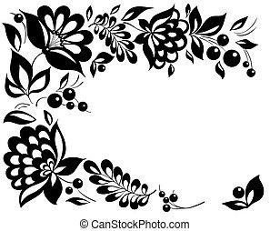 stijl, zwart-wit, leaves., element, ontwerp, retro, floral, bloemen