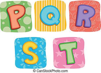 stikken, alfabet, q, p, s, r, t, brief