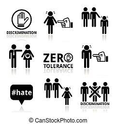 stoppen, set, iconen, discriminatie