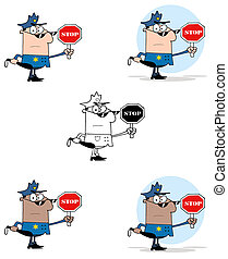 stoppen, vasthouden, politieman