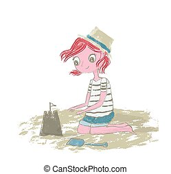 strand, potlood, zand, sandcastle, -, textuur, hand, spelend, vector, witte , getrokken, vrijstaand, illustratie, haar, rode achtergrond, meisje, geitje