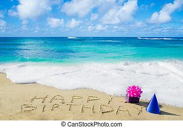 "strand voorteken, birthday"", zanderig, ""happy"