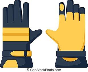 style., handschoenen, werken, protection., refractory, het boert., hand, gele, vrijstaand, tuinieren, plat
