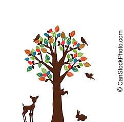 stylized, boompje, kleurrijke