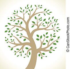 stylized, boompje, kleurrijke, pictogram