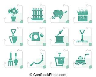 stylized, gereedschap, tuinieren, tuin, iconen