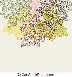 stylized, groet, leaves., herfst, achtergrond, kaart