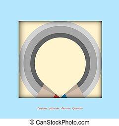 stylized, potlood, frame, papier