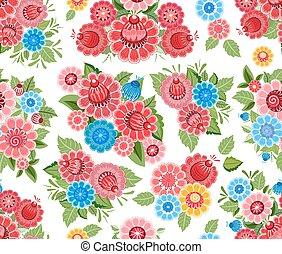stylized, schattig, bloemen, seamless, textuur