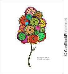 stylized, tekst, boompje, kleurrijke