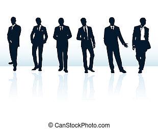 suits., meer, zakenman, blauwe , silhouettes, mijn, set, vector, donker, gallery.