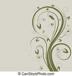 swirly, space., element, vector, ontwerp, floral, groene, kopie