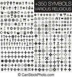 symbolen, gevarieerd, 350, vector, religio