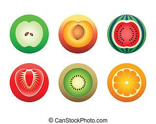symbolen, knippen, ronde, fruit