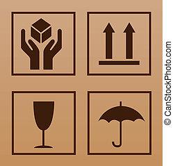 symbool, breekbaar, karton