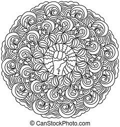 symbool, krullen, pagina, vorm, mandala, sierlijk, vrouwlijk, fist, ronde, frame, kleuren, macht, motieven, meisje, dichtgeklemde