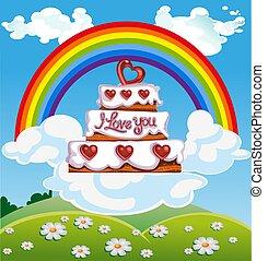 taart, valentine`s dag, wolk