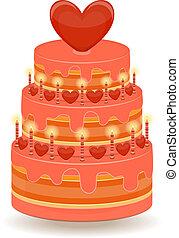 taart, witte , valentines, achtergrond
