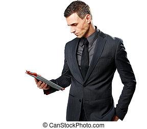 tablet, vrijstaand, computer, achtergrond, zakenman, gebruik, witte
