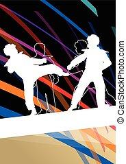 taekwondo, kunsten, gevecht, krijgshaftig, abstract, jonge, vecht, schoppen, vechters, illustratie, achtergrond, silhouettes, sportende, kinderen