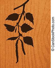 tak, achtergrond, hout, vector, silhouette, berk