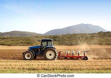 tarwe, velden, graan, landbouw, ploegen, tractor