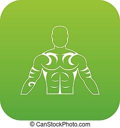 tatoeëren, gespierd, groene, digitale man, pictogram