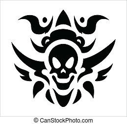 tatoeëren, van een stam, vector, -, schedel