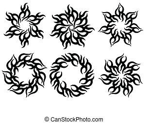 tatoeëren, van een stam, vlam, zon, ontwerp