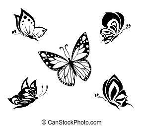 tatoeëren, witte , black , vlinder