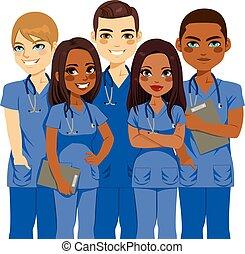 team, verpleegkundige, verscheidenheid