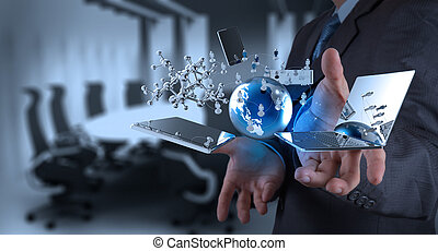 technologie, moderne, werkende , zakenman