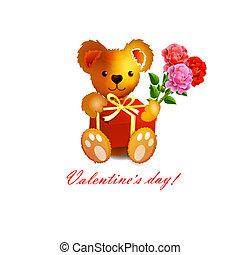 teddy beer, kaart, valentijn, ', s