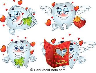 teeth, valentines, romantische, dag