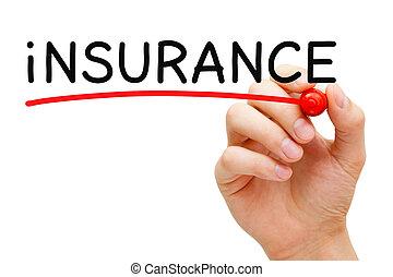 teken, verzekering, rood