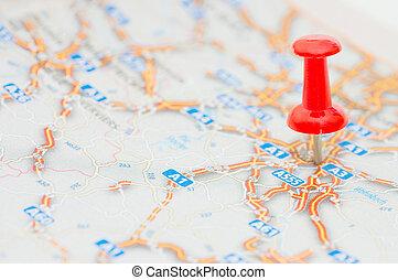 tekening, rood, pushpin, plaats