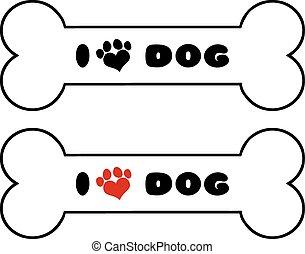 tekst, been, set, dog, verzameling