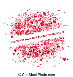 tekst, frame, valentijn, ontwerp, plek, jouw