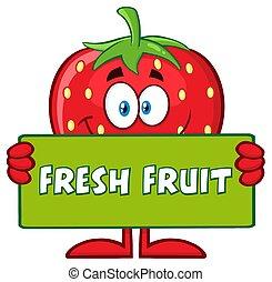 tekst, karakter, aardbei, fruit, vasthouden, fris, het glimlachen, spandoek, spotprent, mascotte